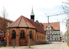 Rückseite der Heiligen Geistkapelle in Uelzen - 1320 als Bestandteil des Heiligen Geist Hospitals erbaut.