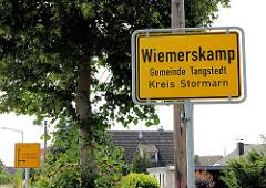 Ortsschild Wiemerskamp, Gemeinde Tangstedt - Kreis Stormarn.