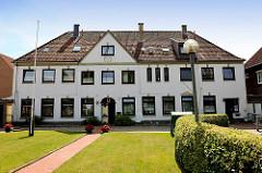 Ehem. Ebershof in der Pastorenstrasse der Stadt Schleswig - Der Hof ist nach dem Dominspektor Johann Daniel Ebers benannt - historisches Gebäude, erbaut Anfang des 17. Jhd.