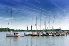 Sportboothafen an der Schlei beim ehem. Hafen der Stadt Schleswig - ein Segelboot läuft unter Motor aus der Marina aus.