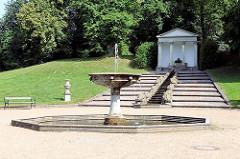 Kleine Kaskade und Tempel im Neuwerkgarten von Schloss Gottorf in Schleswig.