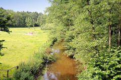 Lauf der Alster zwischen Wiesen und Wäldern - Fotos aus der Gemeinde Tangstedt, Kreis Stormarn; Naherholungsgebiet Oberalster.