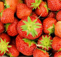 Detailaufnahme frische Erdbeeren - Hofladen in Wilstedt, Gemeinde Tangstedt.