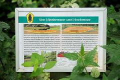 Schild vom Niedermoor und Hochmoor - Naherholungsgebiet Oberalster, Gemeinde Tangstedt, Kreis Stormarn.