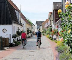 Schmale Gasse im Fischerviertel Holm in Schleswig - eng beieinander stehen die Häuser in der Norderholmstrasse - blühenden Rosensträucher wachsen vor den Häuser - Fahrradfahrer auf der Strasse.