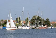 Sportboothafen in Arnis - Blick über die Schlei; Segelboot unter Segeln.
