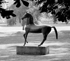 Pferdeskulptur beim Ratzeburger Rathaus - Kreispferd / Bronzeskulptur, Künstler - Bildhauer Karl Heinz Goedtke ( Eulenspiegelbrunnen Mölln ) Die Skulptur ist 1962 zum 900 jährigen Stadtjubiläum Ratzeburgs aufgestellt worden.