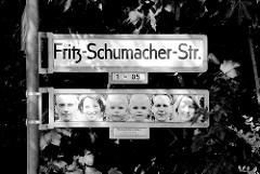 Strassenschild FRITZ - SCHUMACHER-STR. in Norderstedt - Strassenbilderschilder - Künstlerin gagel.