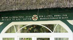 Inschrift Dachbalken Reetdachhaus in Garstedt, Norderstedt; erbaut 1788.