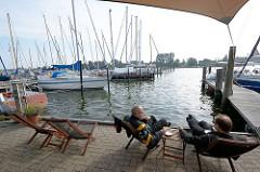 Sportboothafen an der Schlei bei Arnis, kleinste Stadt Deutschlands.