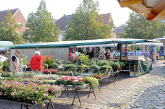 Wochenmarkt auf dem Platz Unter den Linden vor dem Ratzeburger Rathaus.