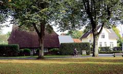 Historische Wohnhäuser - hohe Bäume; Strasse bei den Rauhen Bergen in der Gemeinde Grosshansdorf, Kreis Stormarn.