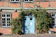 Mit Kletterrosen umrankter Eingang - historisches Fachwerkhaus, Möllner Altstadt.
