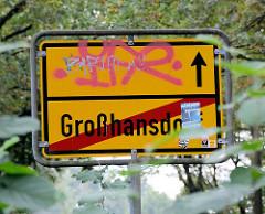 Gelbes Ortsschild - Ende Großhansdorf.