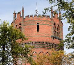 Wasserturm der Hansestadt Wismar - neogotische Backsteinarchitektur, erbaut 1897.