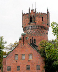 Wasserturm und Maschinenhaus der Hansestadt Wismar - neogotische Backsteinarchitektur, erbaut 1897.