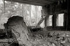 Ruine auf der Anlage der Wolfsschanze - herabgefallener Betonbrocken.