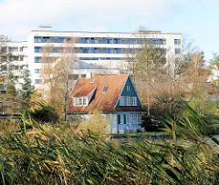 Einzelhaus zwischen Schilf am Segeberger See - im Hintergrund Gebäude der Segeberger Kliniken.