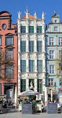 Historische Architektur in Danzig am Langen Markt -  Bürgerhäuser.