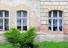 Renovierungsbedürftige Hausfassade - Gründerzeitarchitektur in Anklam.