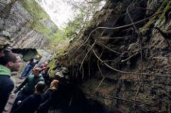 Touristen auf dem Gelände der Wolfsschanze  /  Wilczy Szaniec - sie besichtigen einen zerstörten Bunker; Stahlarmierung ragt aus der Bunkerruine.