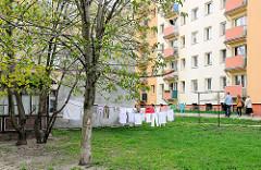 Bilder aus Malbork / Marienburg, Polen - Wäsche zum Trocknen auf der Wiese, Hochhausarchitektur.
