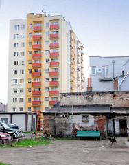 Moderne Architektur - Plattenbauten mit farbiger Fassade und bunt abgesetzten Balkons - Bilder aus Malbork / Marienburg, Polen. Im Vordergrund ein einfaches Ziegelgebäude - Hund auf dem Hof.