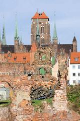 Mauerreste eines Backsteinspeichers auf der Danziger Speicherinsel - im Hintergrund der Kirchturm der Danziger Marienkirche.