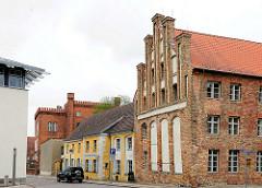 Gotisches Giebelhaus, erbaut 1451 - Backsteingotik in der Hansestadt Anklam.