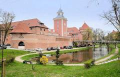Burggraben / Burg Heilsberg in Lidzbark Warmiński - erbaut von 1350 - 1401; Ordensburg des Deutschen Ordens. Teile der Burganlage wird als Hotel genutzt.