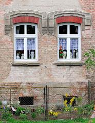 Blühende Blumen im Vorgarten - dekorierte Fenster mit Gardinen; Hausfassade ohne Putz; Ziegelsteine - Wohnhaus in Anklam.