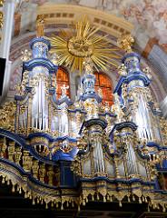 Orgel in der barocken Kirche Święta Lipka, Heiligelinde - Polen; erbaut 1721 von Johann Josua Mosengel.