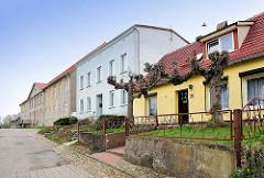 Architektur in Wolgast - Reihenhaus mit Kopflinden im Vorgarten - einstöckige Wohnhäuser.