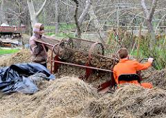 Zwei Jungen sortieren Kartoffeln aus einer Kartoffelmiete in Żarnowiec / Zarnowitz, Polen.
