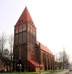 Gotische Backsteinkirche St. Jacobi in Greifswald - frühgotische Backsteinkirche, ca. 1400 erbaut.