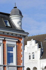 Detail historische Architektur in Bad Segeberg Am Markt / Kirchstrasse. Hausfassaden unterschiedlicher Baustile.