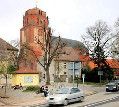 Sankt Petrikirche in Wolgast; zwischen 1280 und 1350 im gotischen Stil erbaut.