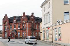 Historisches Ziegelgebäude, Verwaltunsgebäude der Gründerzeit - Architektur in der Hansestadt Wolgast - Postamt.
