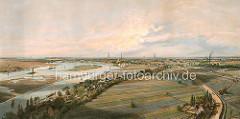 Historisches Panorama ca. 1850 von der Elbe bei Hamburg Rothenburgsort - Blick vom Wasserspiel / Wasserturm auf die Norderelbe. Häuser am Elbufer - Ewer auf dem Fluss bei Niedrigwasser. Im Hintergrund die Kirchtürme der Hansestadt Hamburg; re.