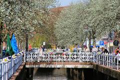 Kunstvolle Brücke über das Fleth in Buxtehude - blühende Bäume, Sonnenschein.