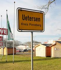 Ortsschild Uetersen Kreis Pinneberg.
