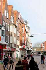 Mehrstöckige Architektur in der Fussgängerzone Königsstrasse in Elmshorn.
