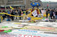 Vorbereitung der Demonstration für das Bleiberecht der Lampedusa-Flüchtlinge in der Hansestadt Hamburg.