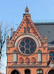 Giebel Friderico-Francisceum in Bad Doberan - erbaut 1889, Backsteinarchitektur, seitlicher Giebelbau / Klinkerfassade - Architekt Ludwig Möckel.