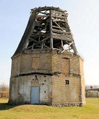 Ruine einer Windmühle in Evershagen, Landkreis Rostock - erbaut 1866.
