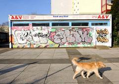 Einzelhandel in der Wohnsiedlung Rostock Lichtenhagen - Graffiti, Strassenhund.