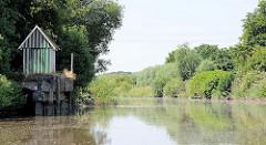 Alte Kaianlage aus Beton an der Krückau / Hafen von Elmshorn; dicht bewachsenes Flussufer.