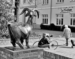 Bronzeskulptur - Brunnen mit Afrikanischer Bergziege; Künstler Gerhard Rommel - Bilder aus der Hansestadt Rostock.