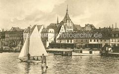 Historisches Motiv vom Hafen der Hansestadt Rostock in den 1920 er Jahren.