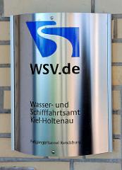 Schild wsv.de / Wasser- und Schifffahrtsamt Kiel - Holtenau am Fussgängertunnel Rendsburg.